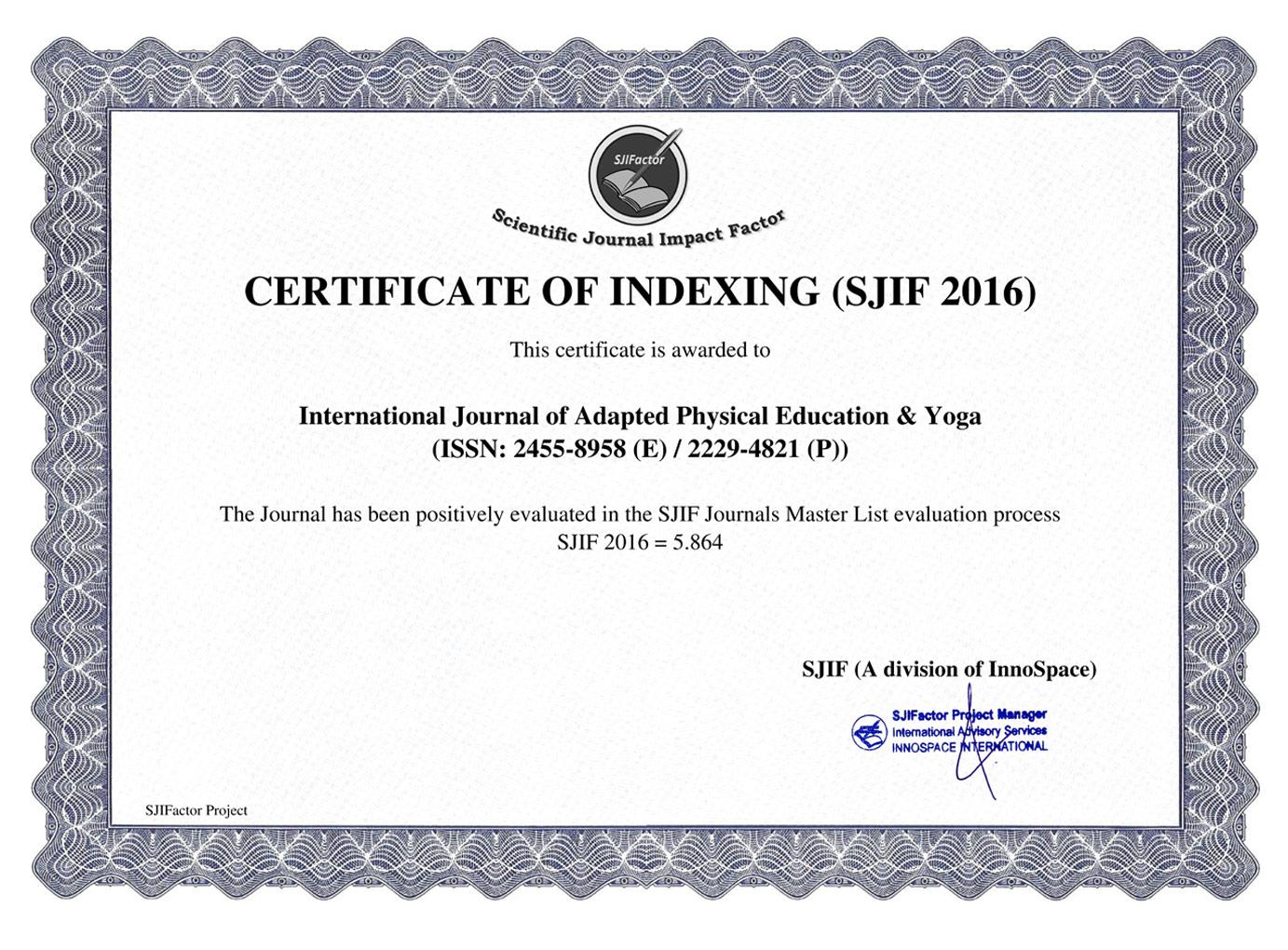 Impact factor Certificate | IJAPEY, Online Journal || International